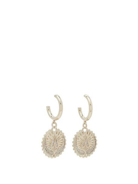 Etro - Engraved-pendant Hoop Earrings - Womens - Gold