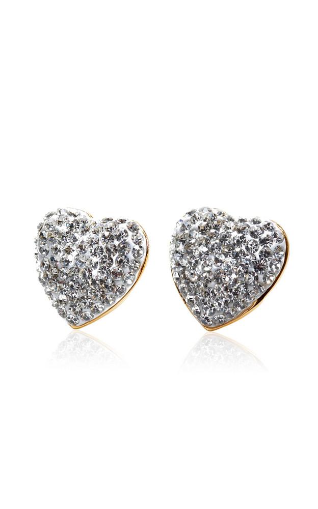 Lele Sadoughi Heart-Shaped Glass Jeweled Stud Earrings in silver