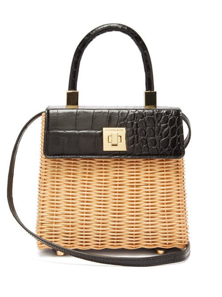 Sparrows Weave - The Classic Wicker And Leather Top Handle Bag - Womens - Black