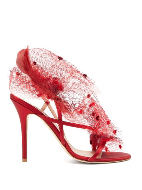 Andrea Mondin - Anne Satin, Mesh And Feather Sandals - Womens - Red