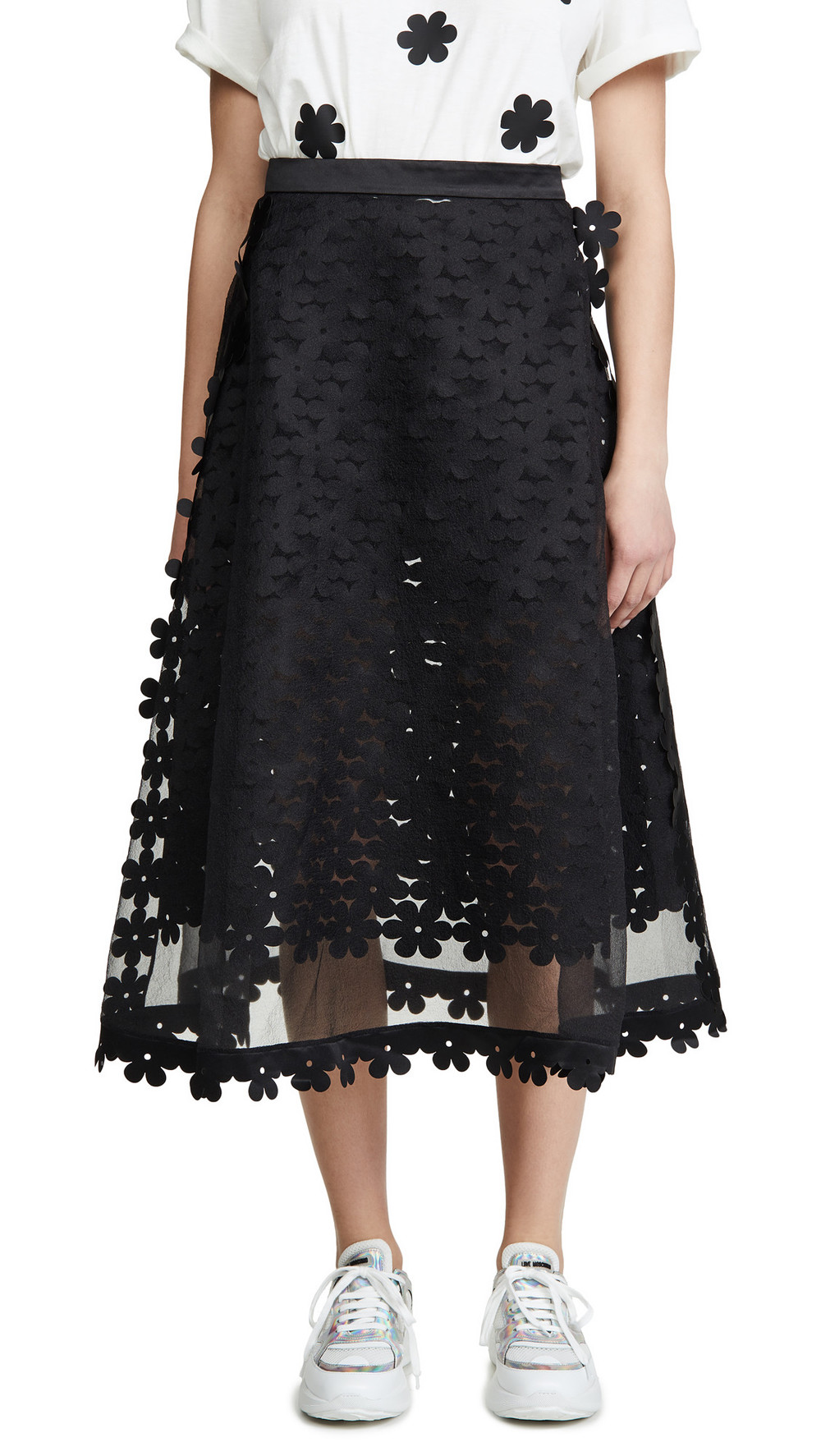 Paskal Double Layered Laser Cut Skirt in black