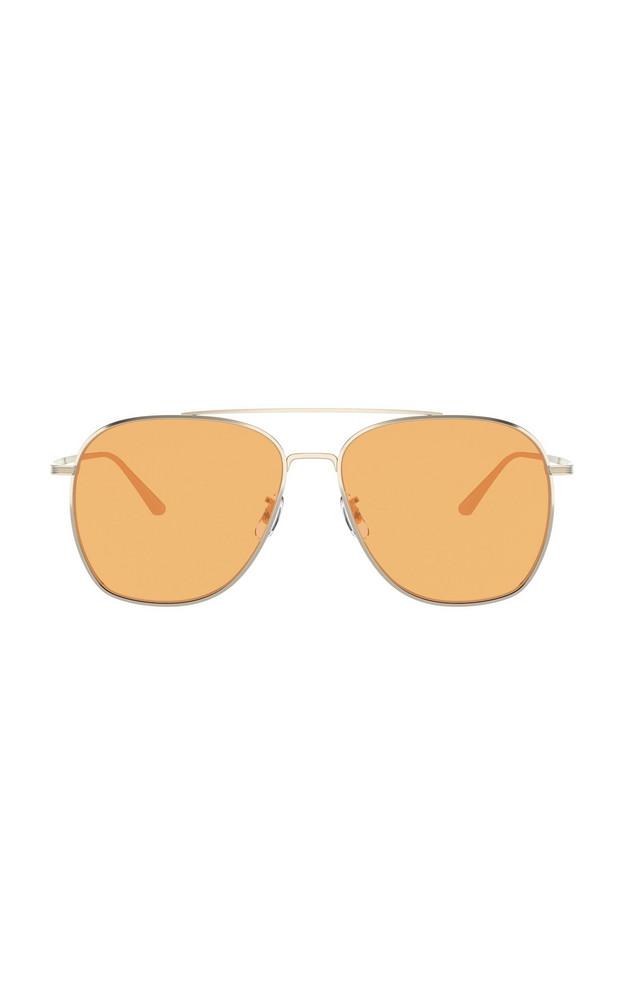 Oliver Peoples THE ROW Ellerston Metal Aviator Sunglasses in orange