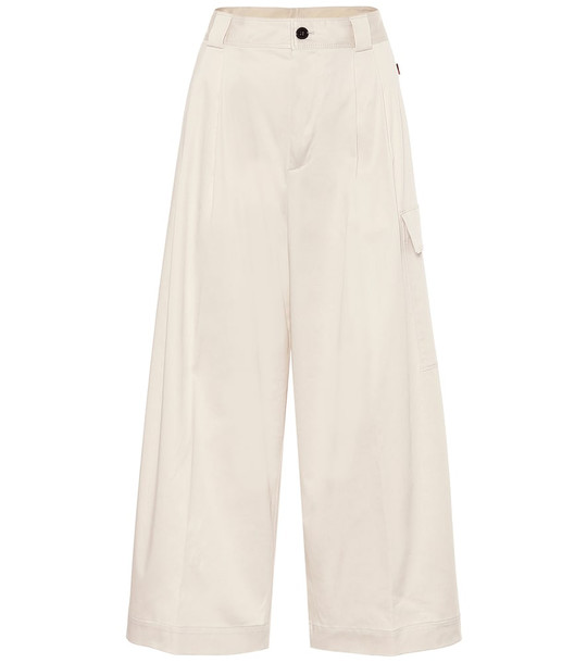 Woolrich High-rise wide-leg cargo pants in white
