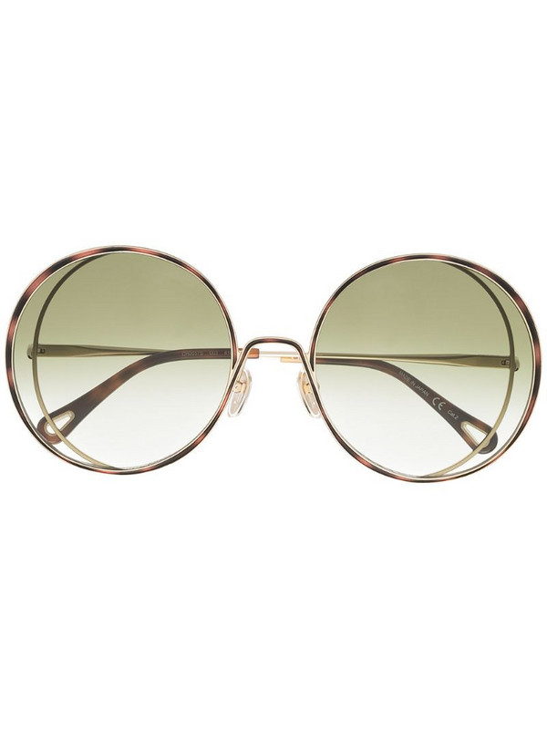 Chloé Eyewear oversized round-frame sunglasses in gold