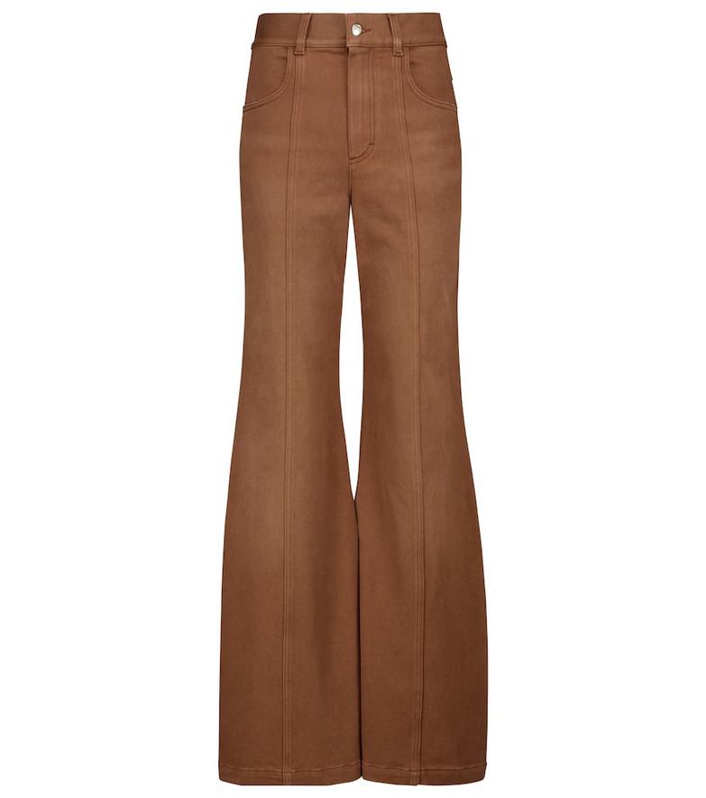 Chloé High-rise bell-bottom pants in brown
