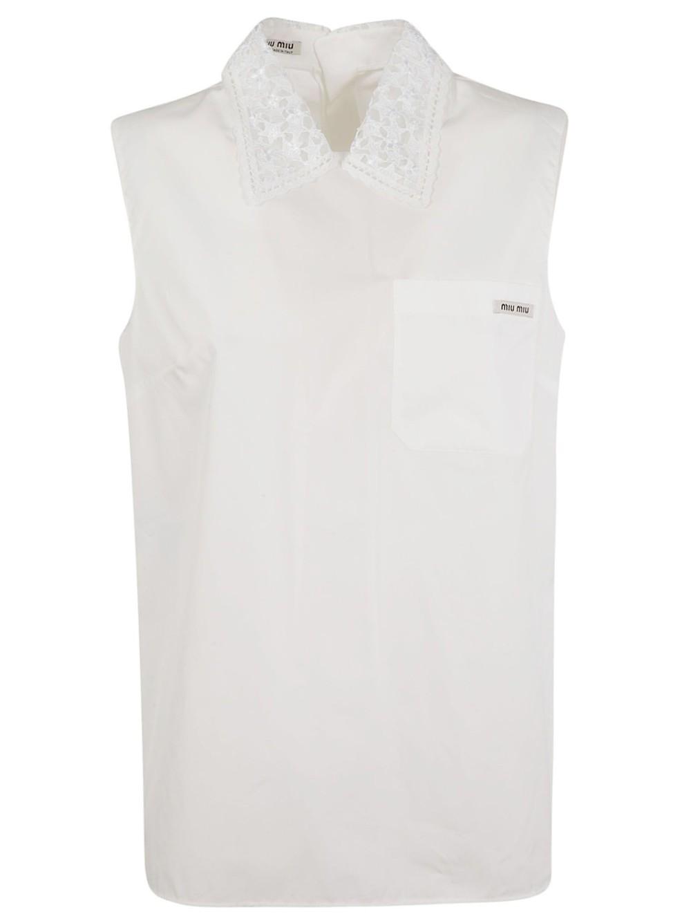 Miu Miu Sleeveless Top in white