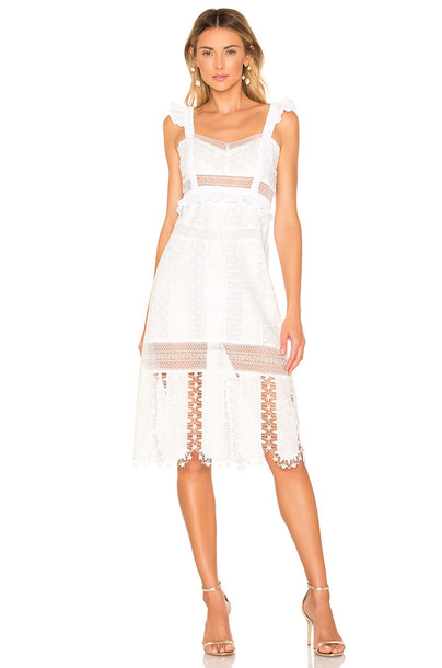 For Love & Lemons Gabrielle Midi Dress in white