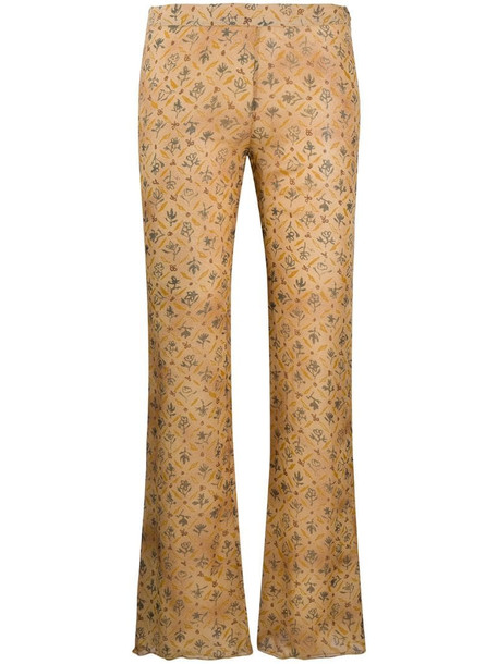 Romeo Gigli Pre-Owned SS 1998 floral bootcut trousers in neutrals
