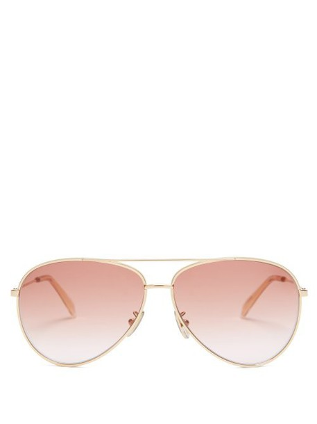 Celine Eyewear - Metal Aviator Sunglasses - Womens - Pink Gold
