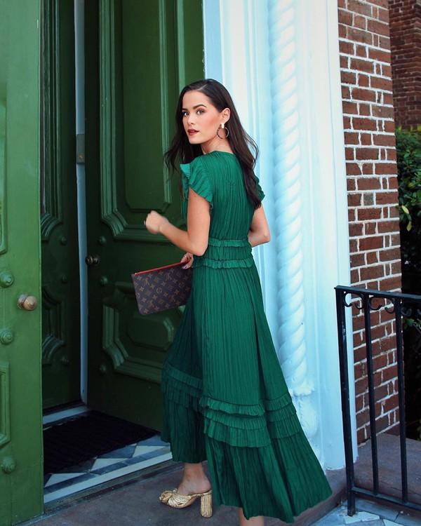 dress maxi dress green dress pleated dress sandal heels louis vuitton bag