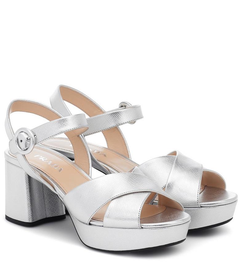 Prada Leather platform sandals in metallic
