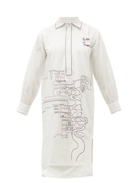 Kilometre Paris - San Francisco-embroidered Cotton Pyjama Shirt - Womens - White Multi
