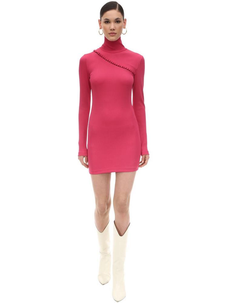 ROTATE Ribbed Stretch Jersey Mini Dress in fuchsia