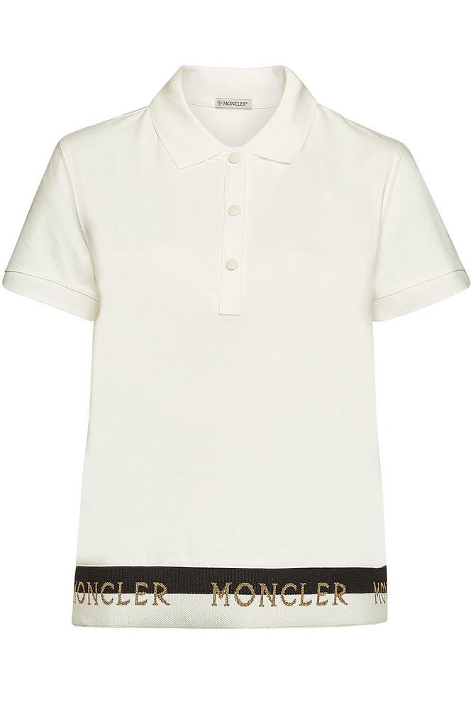 Moncler Cotton Polo T-Shirt  in white