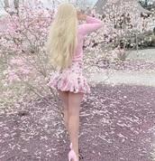 skirt,pink,floral skirt,mini skirt