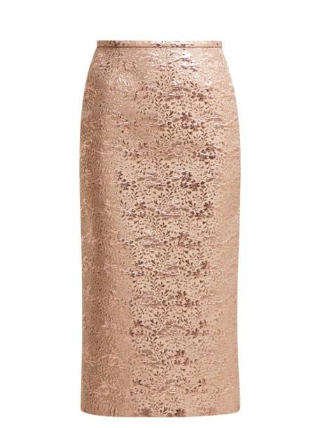 Rochas - Floral Brocade Pencil Skirt - Womens - Pink