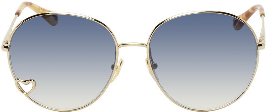 Chloé Chloé Gold & Blue Aimée Sunglasses