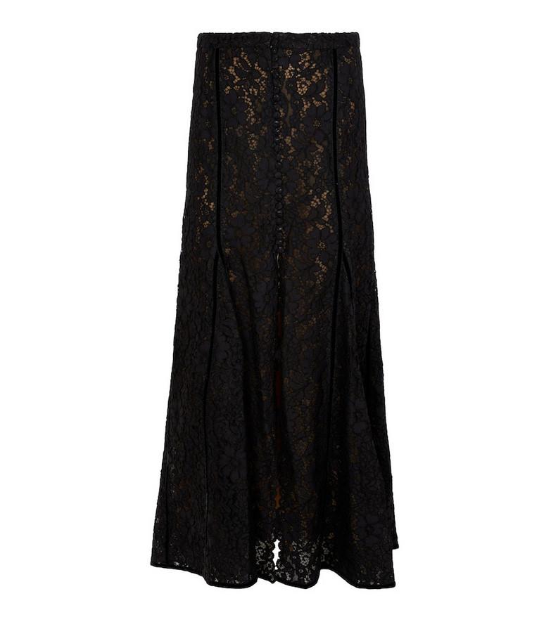 Costarellos Nika floral lace midi skirt in black