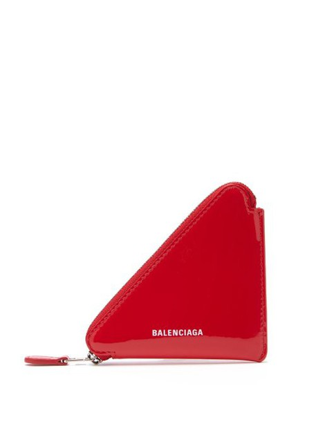 Balenciaga - Triangle Patent Leather Coin Purse - Womens - Red