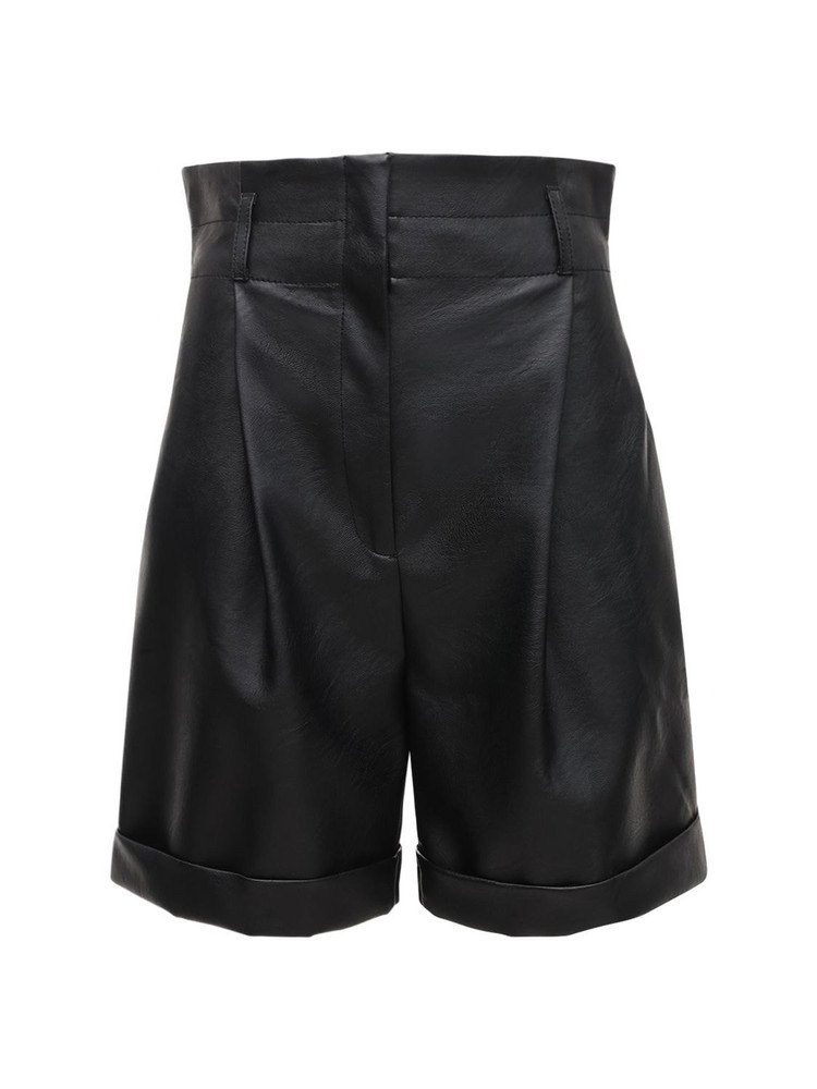 PHILOSOPHY DI LORENZO SERAFINI High Waist Faux Leather Shorts W/ Belt in black
