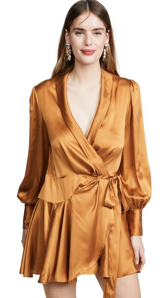 Zimmermann Wrap Short Dress in gold