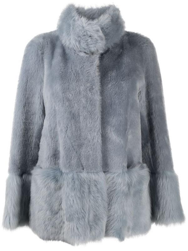 Suprema long-sleeve fur coat in blue