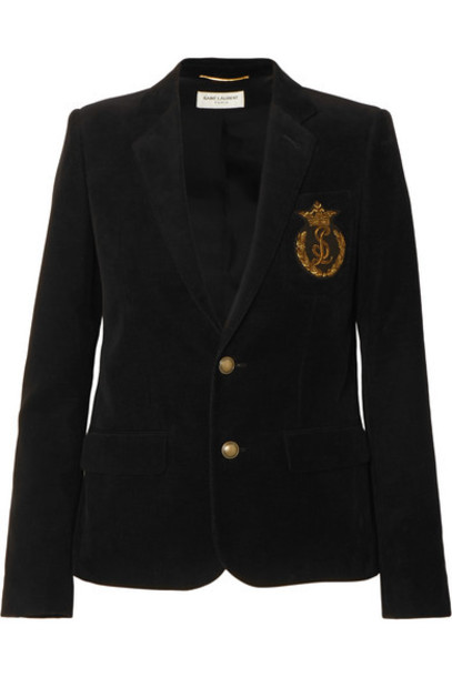 SAINT LAURENT - Appliquéd Cotton-corduroy Blazer - Black