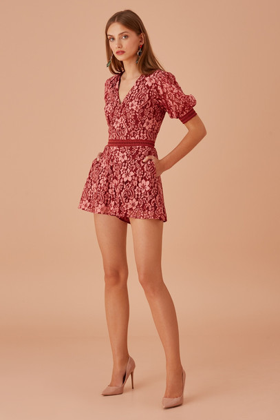 KEEPSAKE HOLDER LACE PLAYSUIT rose