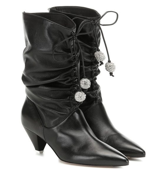 The Attico Crystal-embellished leather boots in black