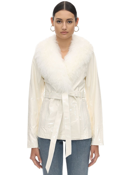 SAKS POTTS Patent Leather & Shearling Jacket in white