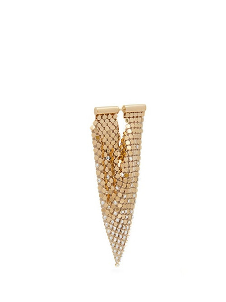 Paco Rabanne - Crystal Embellished Chainmail Earrings - Womens - Gold