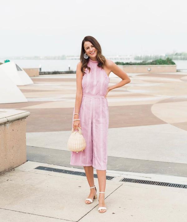 jumpsuit sleeveless white sandals handbag elegant