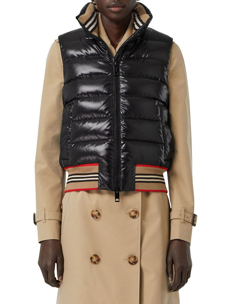 BURBERRY Tb Logo Quilted Nylon Vest in black
