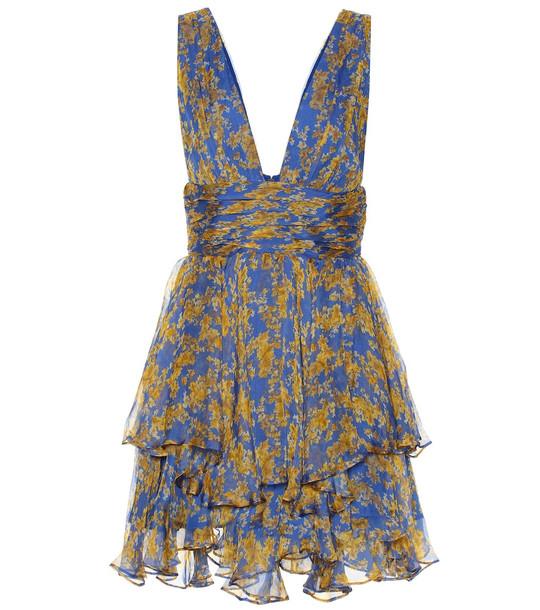Caroline Constas Paros floral silk-chiffon minidress in blue