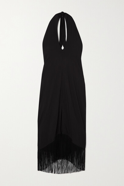 ViX - Fringed Crepe Halterneck Midi Dress - Black