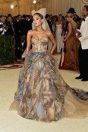dress,ariana grande,versace,vera wang,metgala 2018