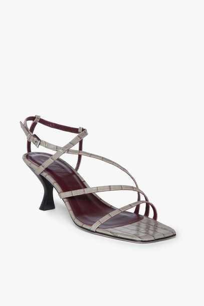 Staud GITA SANDAL | FRENCH GREY CROC EMBOSSED