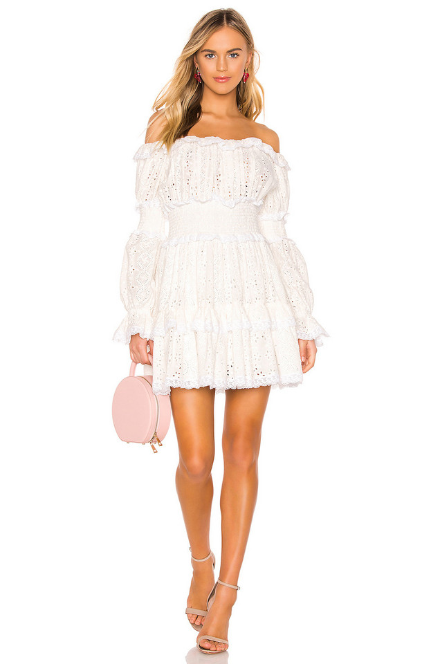 Divine Heritage Off The Shoulder Dress in white