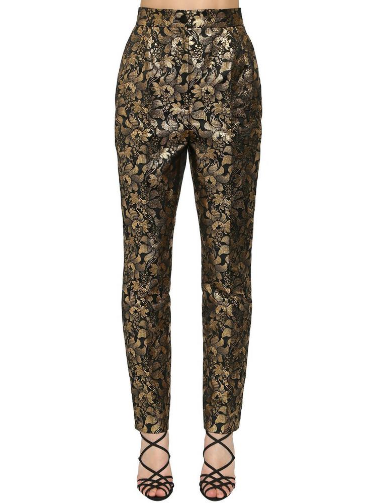 DOLCE & GABBANA High Waist Lamé Jacquard Pants in gold