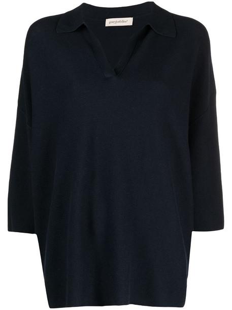 Gentry Portofino cotton-cashmere knit jumper in blue