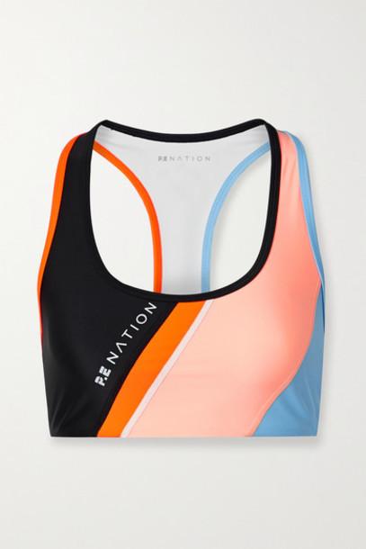 P.E NATION - Aerial Drop Color-block Stretch Sports Bra - Black