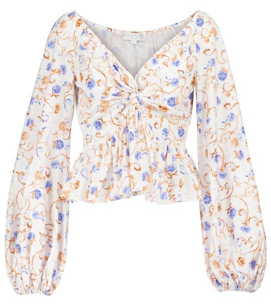 Caroline Constas Onira floral cotton-blend top in white