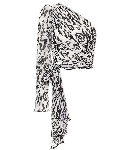 Self-Portrait Leopard-print plisse chiffon top in white
