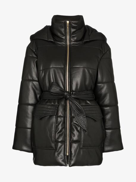 Nanushka lenox vegan leather puffer jacket in black