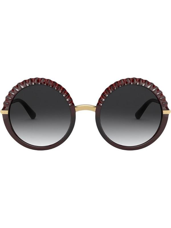Dolce & Gabbana Eyewear Plissé round-frame sunglasses in red
