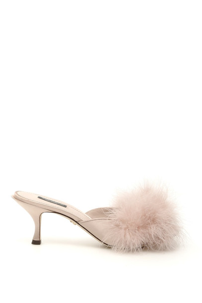 Dolce & Gabbana Marabou Keira Mules in pink