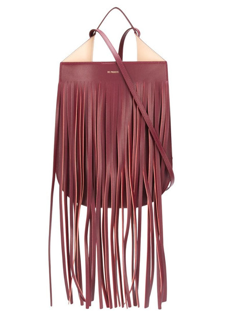 REE PROJECTS logo fringed tote in red