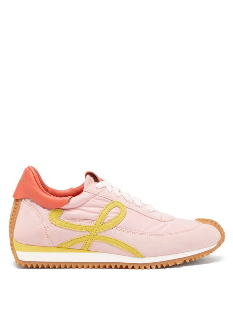 Loewe - Flow Runner Shell And Suede Trainers - Womens - Pink Multi
