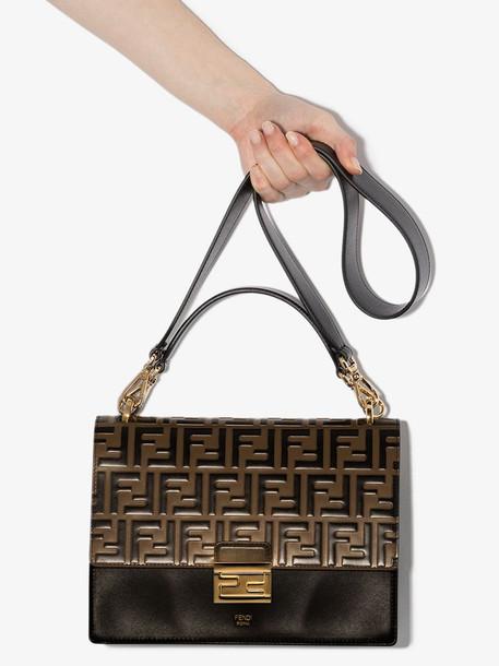 Fendi brown Kan U Medium leather shoulder bag