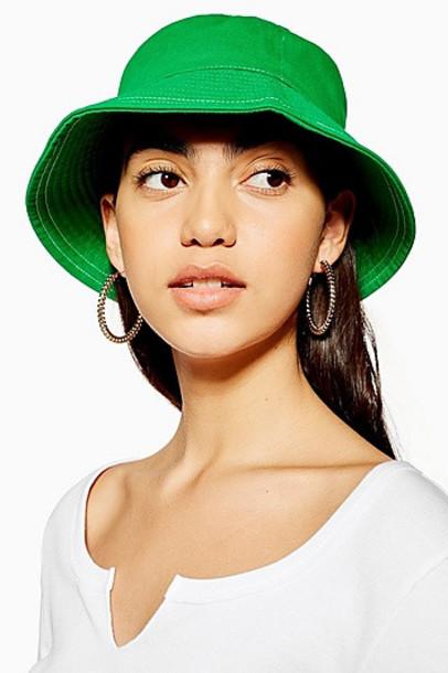 Topshop Green Topstitch Bucket Hat - Green